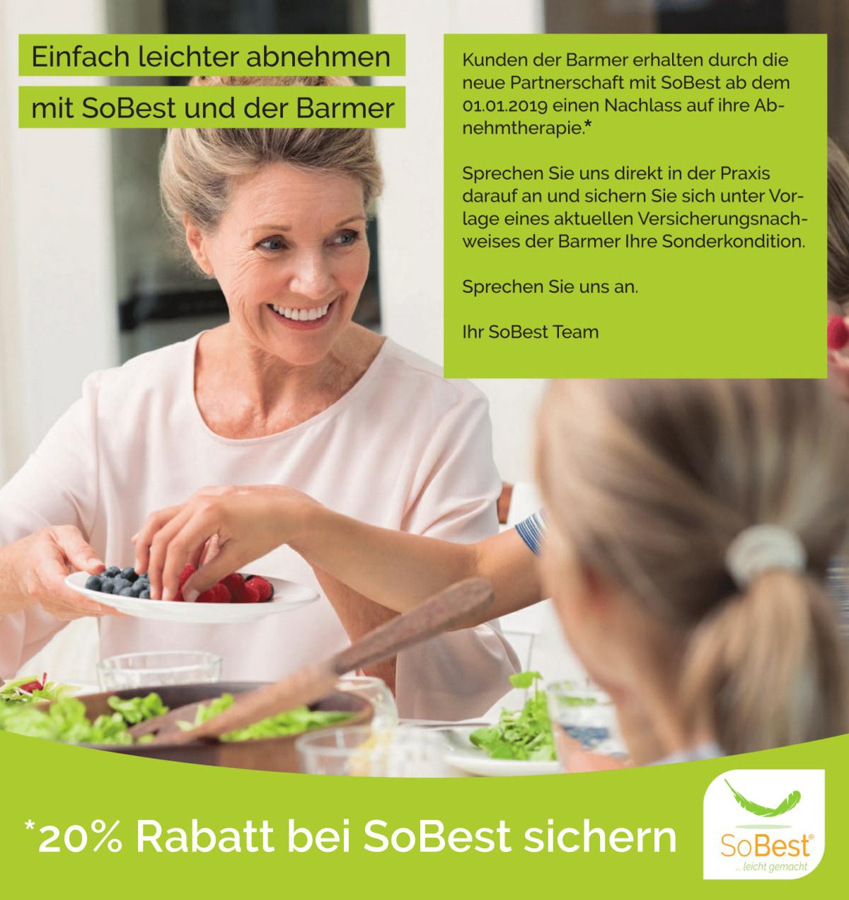 20% Rabatt bei SoBest für Barmer Kunden